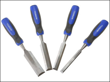 Faithfull - Bevel Edge Chisel Blue Grip Set of 4: 12, 18, 25, & 32mm